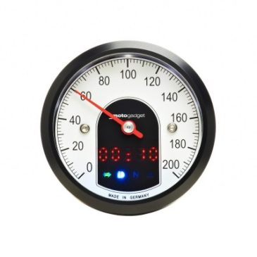 Front view of the face of the Motogadget Motoscope Tiny Gauge with black bezel.