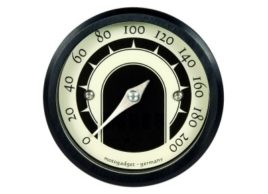 The image shows a front view of the Motogadget MST Speedster Gauge with lights off.