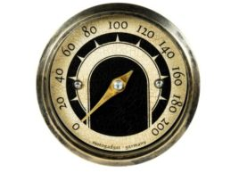 The image shows a front view of the Motogadget MST Vintage Gauge with lights off.